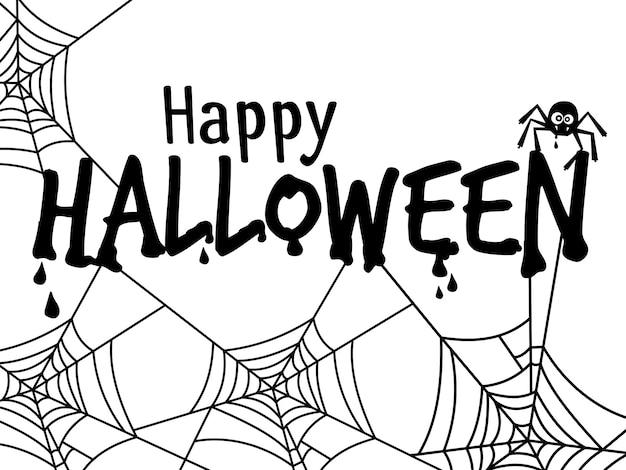 Banner de texto de halloween com aranha