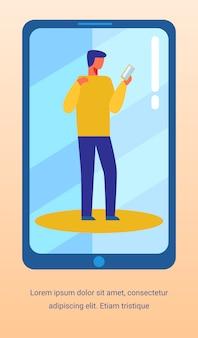 Banner de texto de publicidade com o homem usando o smartphone