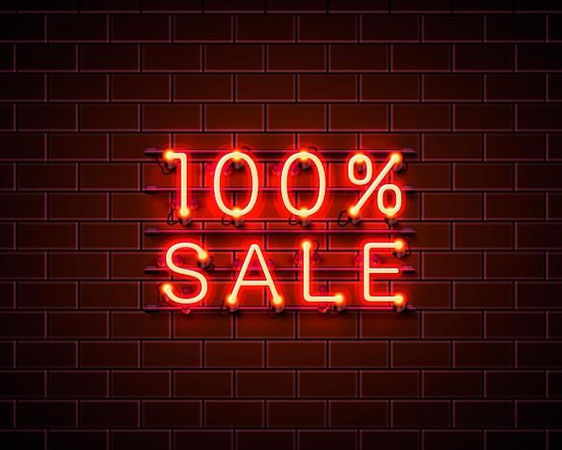 Banner de texto de venda de néon 100. sinal noturno. ilustração vetorial