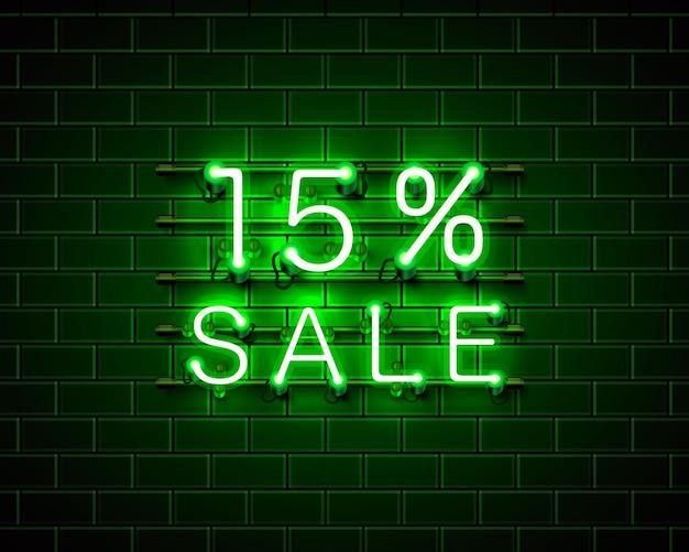 Banner de texto de venda de néon 15. sinal noturno. ilustração vetorial