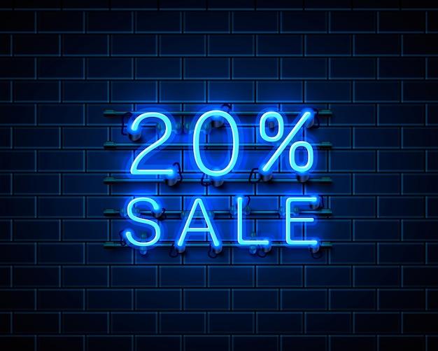 Banner de texto de venda de néon 20. sinal noturno. ilustração vetorial