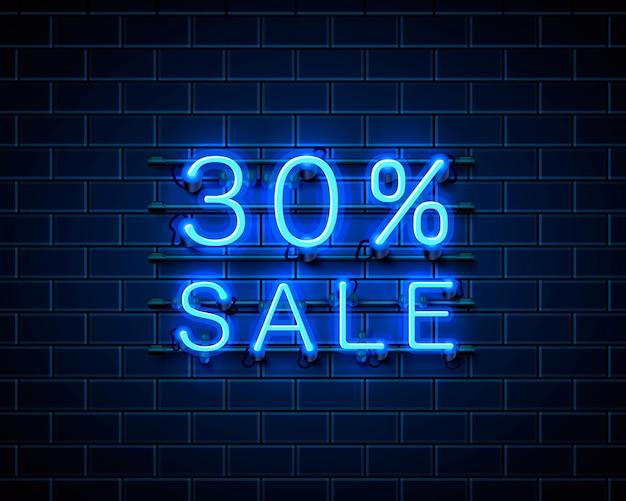 Banner de texto de venda de néon 30. sinal noturno. ilustração vetorial