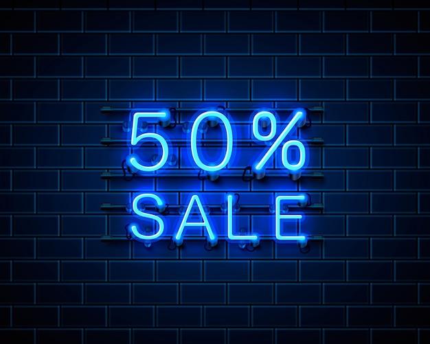 Banner de texto de venda de néon 50. sinal noturno. ilustração vetorial