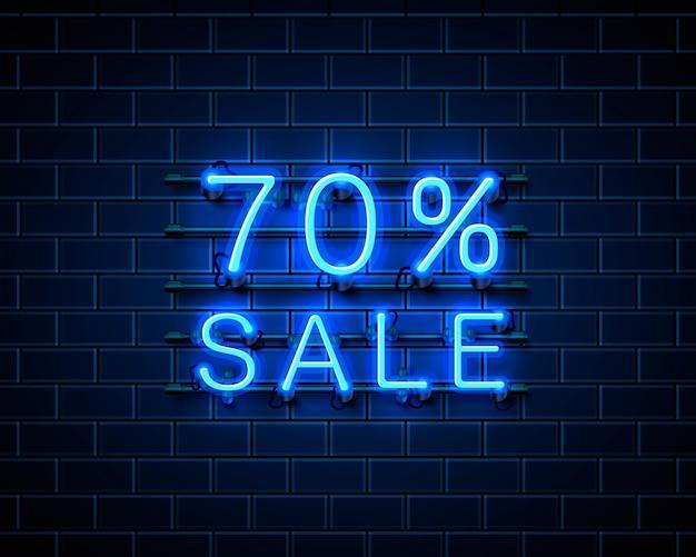 Banner de texto de venda de néon 70. sinal noturno. ilustração vetorial