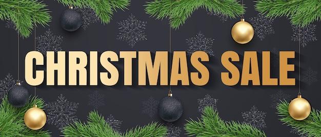 Banner de texto dourado de venda de natal