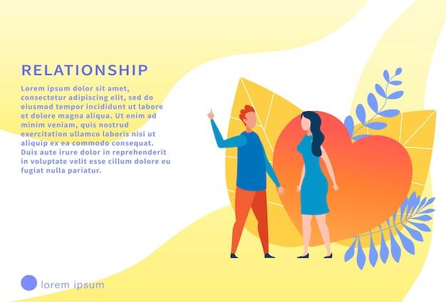 Banner de texto motivacional de relacionamento com casal