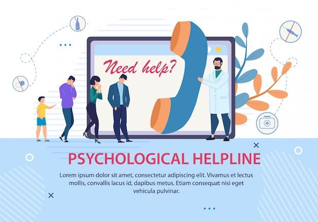 Banner de texto para publicidade de linha de apoio psicológica