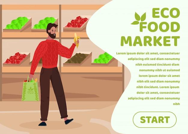 Banner de texto publicitário promovendo o mercado de alimentos ecológicos