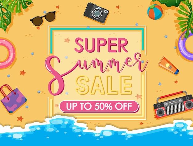 Banner de texto super liquidação de verão com itens de praia