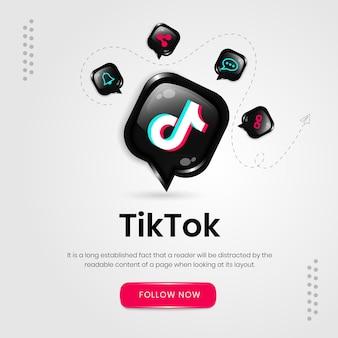 Banner de tiktok de ícones de mídia social
