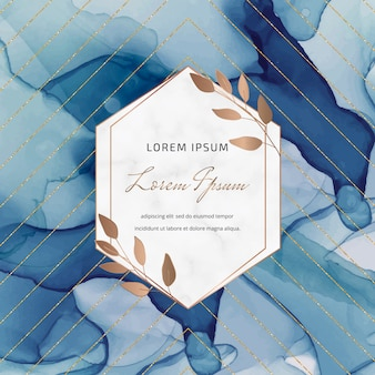 Banner de tinta azul álcool com molduras geométricas em mármore e folhas, linhas de glitter dourados.