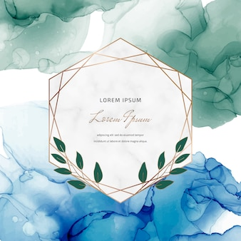 Banner de tinta azul e verde álcool com quadros de mármore geométricos e folhas. modelo na moda