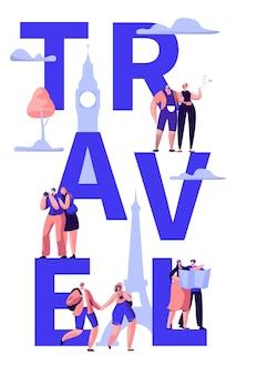 Banner de tipografia da viagem ao redor do mundo