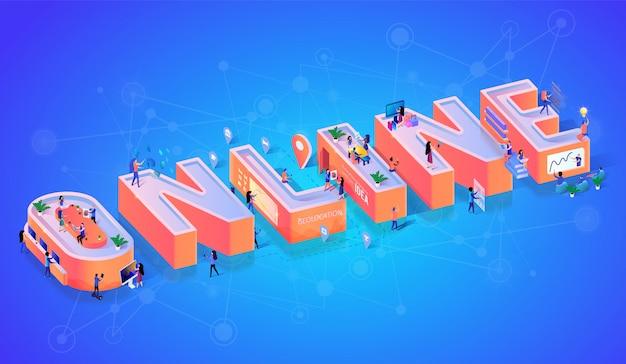 Banner de tipografia de tecnologia de negócios on-line