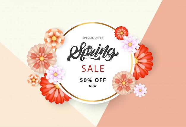 Banner de tipografia de venda de primavera
