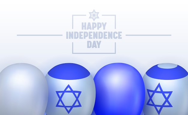 Banner de tipografia do dia da independência de israel. marcado por cerimônia oficial e não oficial. reunião de família, fogo de artifício e concerto. ilustração em vetor plana dos desenhos animados