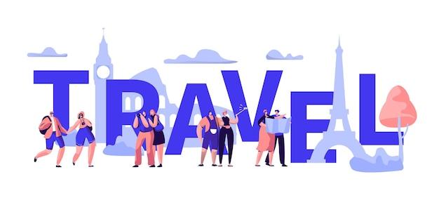 Banner de tipografia do world travel tour business