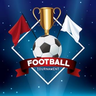 Banner de torneio de futebol com bola e bandeiras