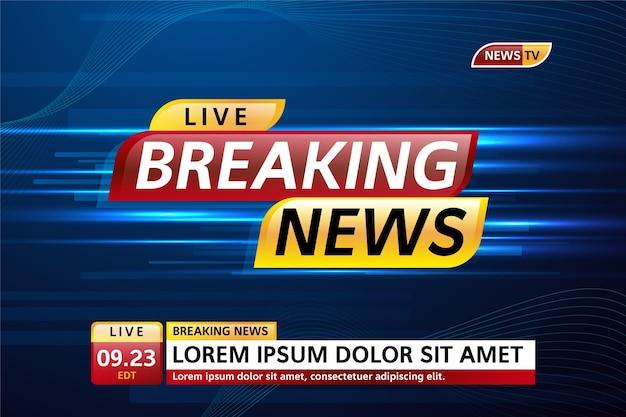Banner de transmissão ao vivo de notícias de última hora