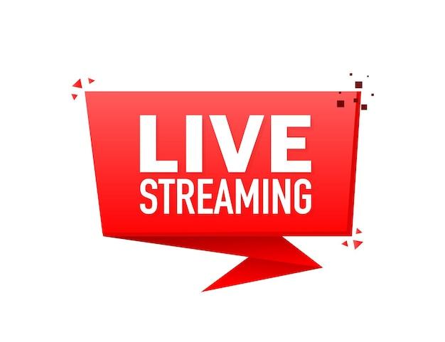 Banner de transmissão ao vivo em estilo plano em branco