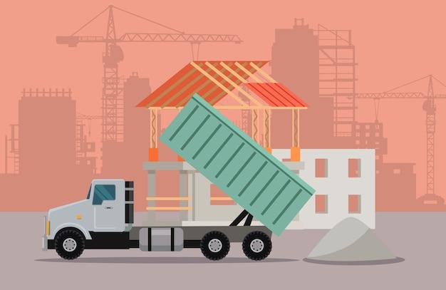 Banner de transporte por caminhão. caminhão basculante cargo concept