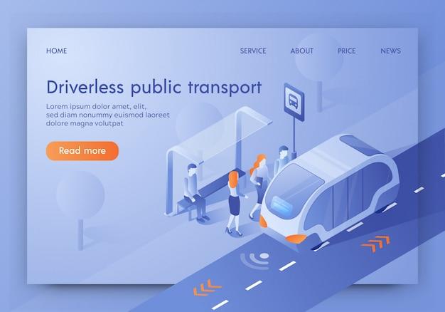 Banner de transporte público sem motorista, ônibus não tripulado