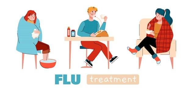 Banner de tratamento de gripe em casa com pessoas realizando procedimentos em estilo simples