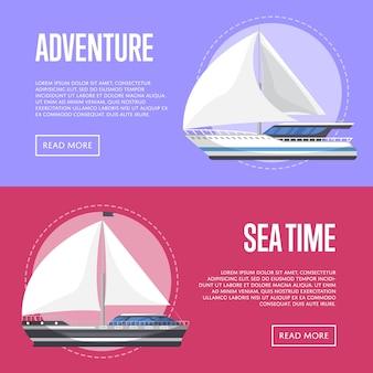 Banner de turismo náutico com veleiros