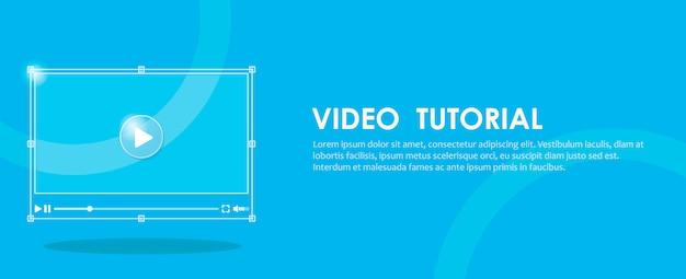 Banner de tutorial em vídeo. mão pressionando um computador.