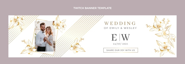 Banner de twitch de casamento dourado de luxo realista