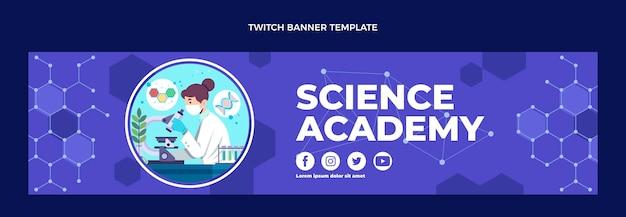 Banner de twitch de ciência em design plano