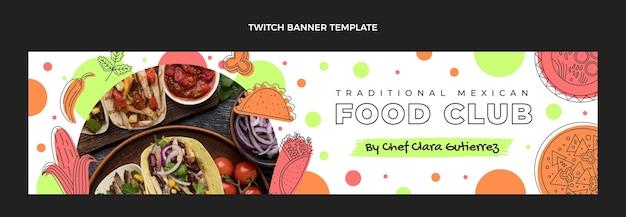 Banner de twitch de comida mexicana com design plano