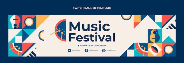 Banner de twitch de festival de música em mosaico plano
