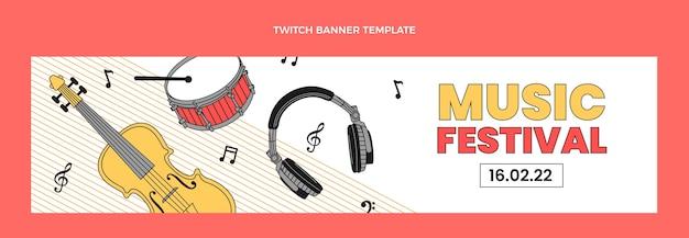 Banner de twitch de festival de música plana minimal