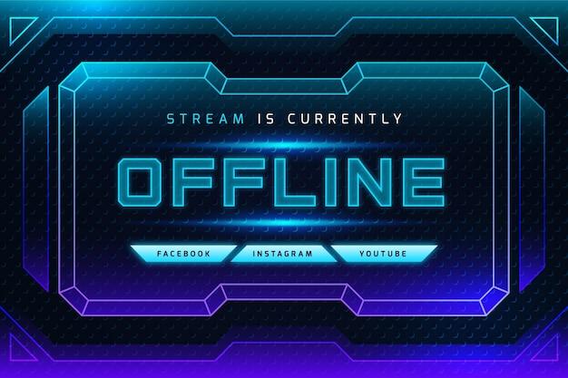 Banner de twitch off-line em neon gradiente
