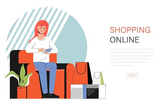 Banner de uma jovem mulher, compras on-line com um telefone no sofá