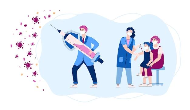 Banner de vacinação com ilustração em vetor plana médicos e pacientes isolada
