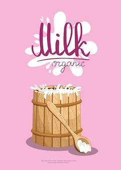 Banner de varejo de produtos lácteos tradicionais