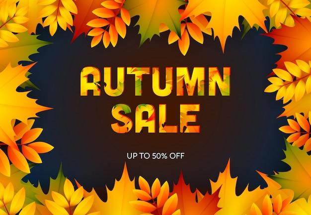 Banner de varejo escuro de venda outono