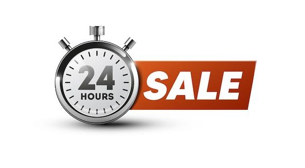 Banner de venda 24 horas. ícone do cronômetro
