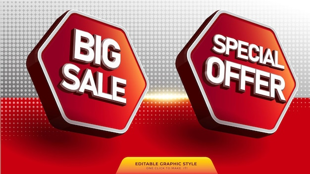 Banner de venda 3d em estilo 3d