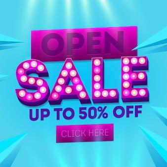 Banner de venda aberta. modelos de vendas. modelo para venda e publicidade. folheto de desconto