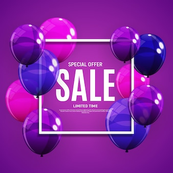 Banner de venda abstrata com balões roxos