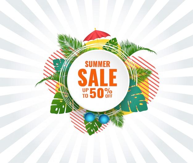 Banner de venda abstrata de verão com até 50% de desconto. design sazonal.