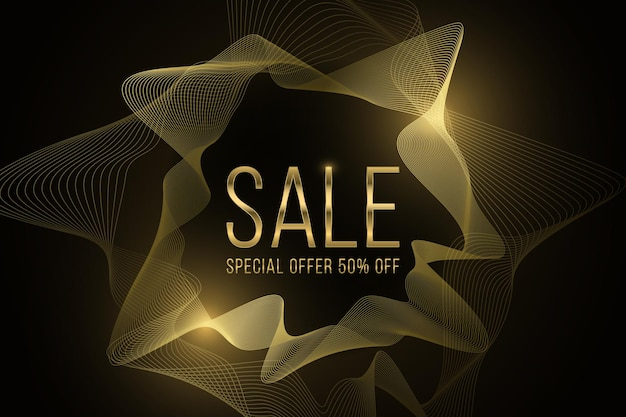 Banner de venda abstrato feito de formas onduladas brilhantes douradas. oferta especial com grandes descontos.