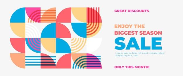 Banner de venda abstrato geométrico com formas modernas e coloridas