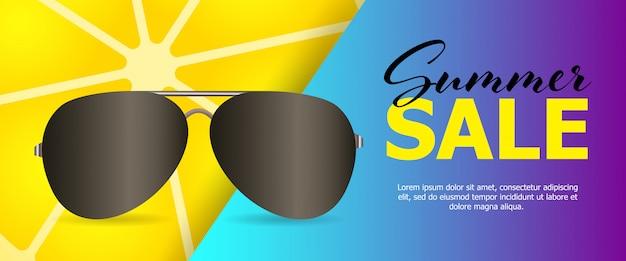 Banner de venda azul de verão