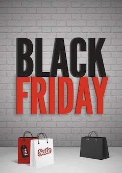 Banner de venda black friday com texto grande e modelo de vetor realista de sacolas de compras para promoção e publicidade