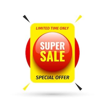 Banner de venda. botão redondo vermelho. ilustração.