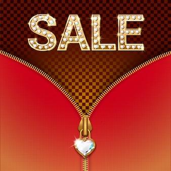 Banner de venda - cartas de luxo brilhante em ouro com pedras preciosas, zíper com pingente.